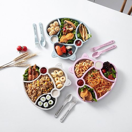 Kid Bowl Dishes set Cartoon Lunch Box Baby Children Noodles Rice Feeding Bowl Plastic Bamboo Fiber Snack Divided Plate Tableware