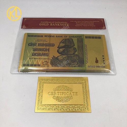 10pcs/lot PET Material Colored Zimbabwe Gold Foil Banknote with nice plastic Sleeve frame for good selling