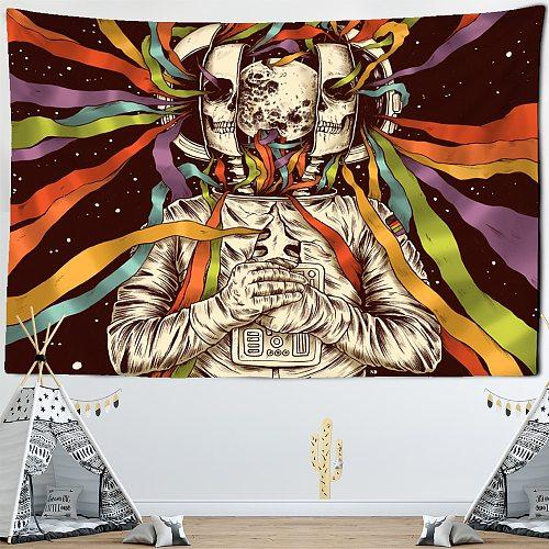 Nordic Style Skull Astronaut Tapestry Flowers Rainbow Moon Starry Sky Mandala Carpet Black Skull Witchcraft Wall Hanging Blanket