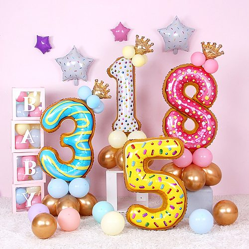 Kids Donut Birthday Party 42 Inch Digital Foil Balloon Baby Shower Happy Birthday Decoration Inflatable Ball Sweet Kids Party