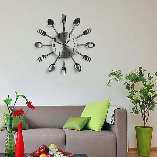 Cutlery Design Kitchen Wall Clock Creative Metal Fork Spoon Clocks For Home Living Room Decoration Wall Decor