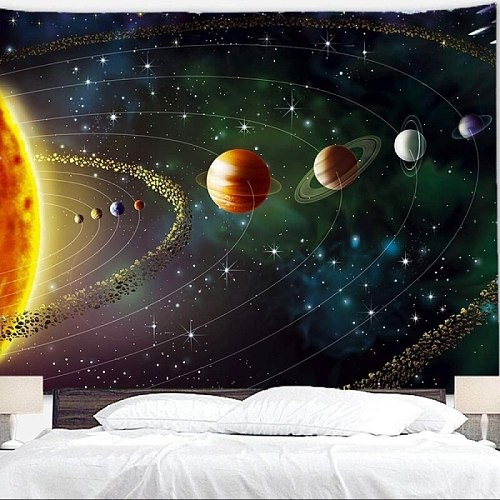 Planets Tapestry Outer Space Galaxy Universe Printed Tapestries Wall Hanging Mural for Bedroom Living Room Dorm Home Decoration
