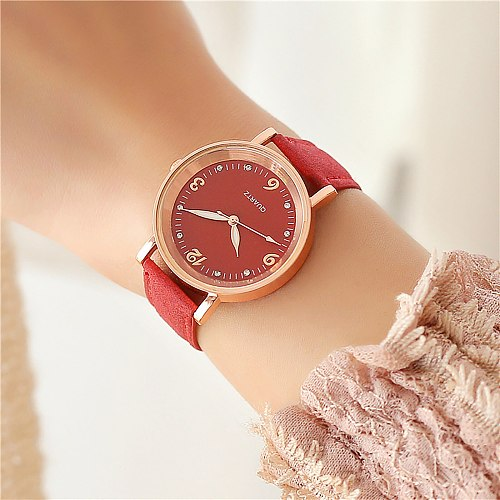 2021 New Quartz Watch Women Fluorescent Pointer Watch Pu Belt Watch Analog Arabic Digital Wristwatch Clock