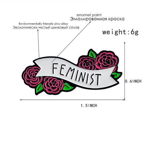 Feminist Enamel Brooch Girl Power Pins for clothes bag buckle Button Badge Cartoon Flowers Jewelry Gift for Women Friends