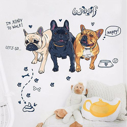 Cartoon Dogs French Bulldog Wall Stickers Kids Bedroom Bathroom Decor Baby Room Wall Decoration Accessories PVC Poster Removing