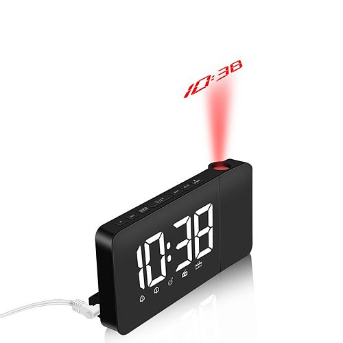 Projection Table Clock Digital Date Snooze Function Backlight Rotatable Desk Clock Multi-function LED FM Clocks Home Decoration