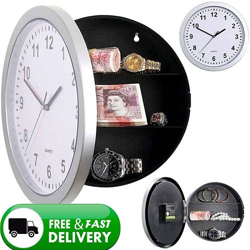2 In 1 Secret House Storage Wall Clock Home Decroation Office Security Safe Money Stash Jewellery Stuff Container