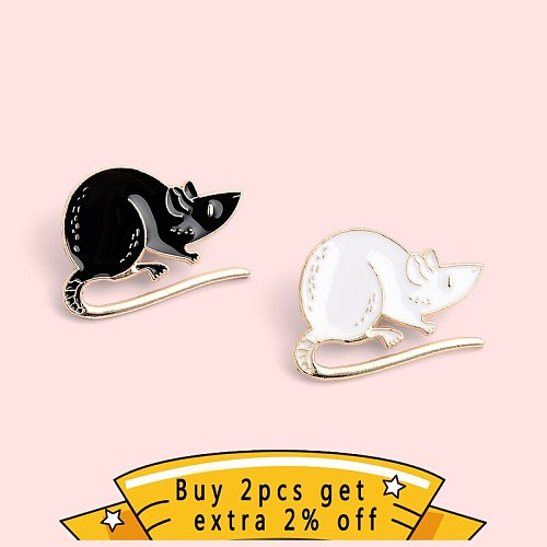QIHE JEWELRY Black White Couple Foraging Mouse Enamel Pins Cute Animals Brooches Badges Fashion Pins Gifts for Friends Wholesale