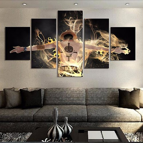 Canvas Wall Art Home Decoration Painting Poster 5 Panel One Piece Character For Living Room Modern HD Pictures Printed Frame