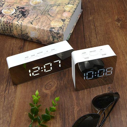 Modern Led Table Alarm Clock Temperature Humidity Date Electronic Desktop Digital Watch Kitchen Kids Room Desk Projection Clocks