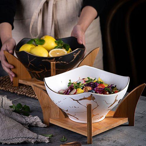 Creative European Marble Pattern Black/white Ceramic Square Fruit Salad Bowl Home Decoration Kitchen Tableware Fruit Snack Plate