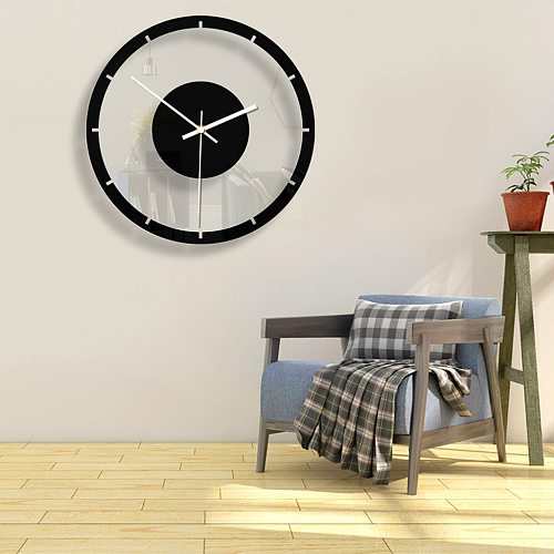 Nordic Style Wall Clock Silent Transparent Acrylic Clock Home Living Room Retro Iron Round Face Black Large Outdoor Decor