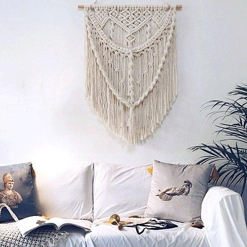 Boho Wall Hanging Handwoven Bohemian Cotton Rope Boho Tapestry Home Decor Boho Bohemian Woven Tapestry Wall Art Macrame Decor #2