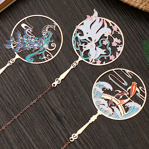 Chinese Style Brass Peacock Bookmark Group Fan Book Clip Pagination Mark Metal Tassel Study Home Decoration Ornaments