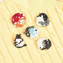 Custom Sun Moon Fox Koi Rabbit Bat Day and Night Enamel Pins Brooch Bag Clothes Lapel Pin Badge Black and white cat Jewelry Gift