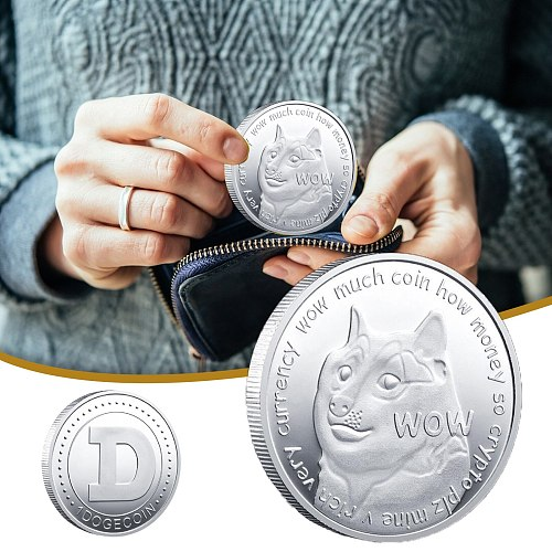 dogecoin Non-currency CoinsDogecoin Commemorative Coin Plated Doge Coin 2021 Limited Collectible 2pc товары за рубль