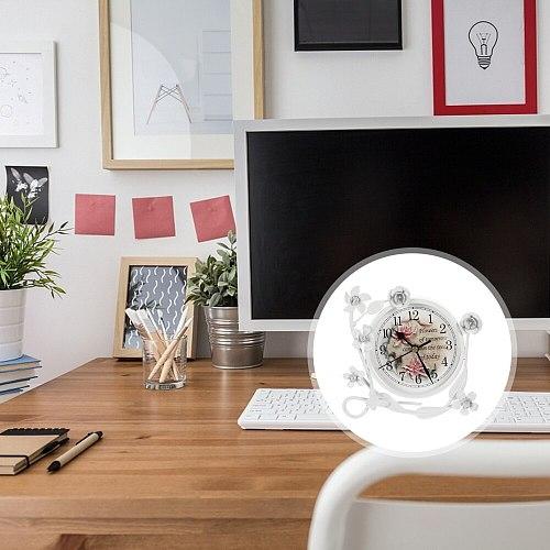 1pc European-style Table Clock Mute Clock Retro Desktop Clock Living Room Decor