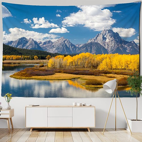 Mountain Rolling Lake Scenery Art Tapestry Golden Forest Wall Hanging Hippie Cloth Backdrop Beach Mat Dorm Home Decor