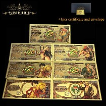 7pcs/set Nice Japanese Anime One Piece Monkey D. Luffy Sanji Nico·Robin Nami Banknote LUCKY7777777 Banknote For Collection