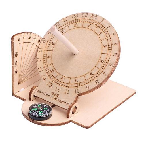 1pc Equatorial Sundial Clock Wooden Scientific Model DIY Teaching Aid Educational Toys For Kids Desk Accessories