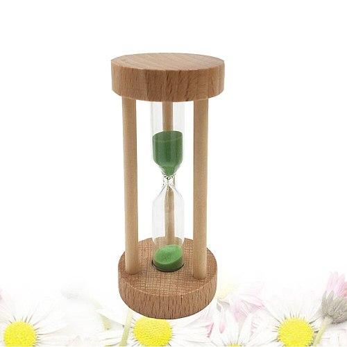3 Min Wooden Sandglass Hourglass Orange Sand Timer Clock Table Desktop Decoration