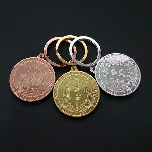 1PCS Gold Plated Bitcoin Coin Key Chain Non-currency Coins Collectible Coin Art Gift Physical Metal Antique Imitation Home Decor