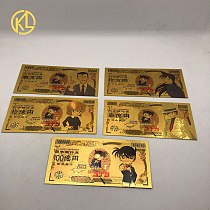 5 types Japanese Anime Detective BOY CO-N-AN-Case Closed Gold Foil Banknote for classic childhood memory Collection
