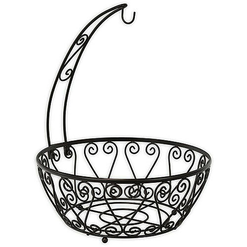 2019 New 2 in 1 Chrome Wire Fruit Bowl With Banana Hanger Tree Hook Storage Holder Basket Stand Home Fruit Plates