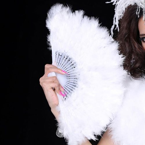 White Hand Fans Folded Feather Fan Handmade Fans Dance Bride Wedding Decoration Performance Party Prop Room Ornaments Home Craft