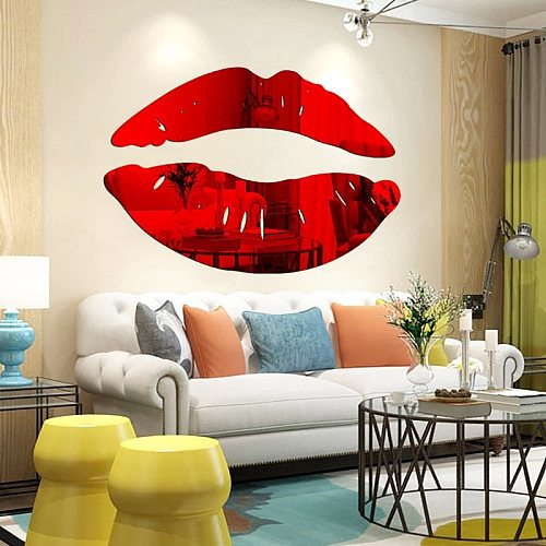 New Style DIY Art Mural Decals Home Decor Sexy Lips Wall Sticker Simple Shine 3D Mirror Stickers Acrylic Mirror Kiss Lips
