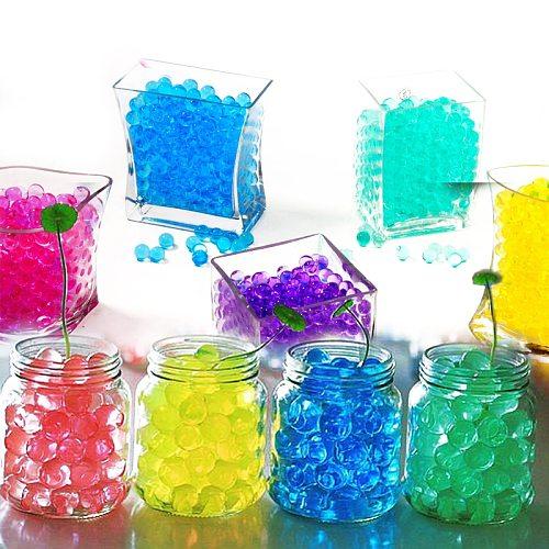 100pcs/bag Crystal Soil Hydrogel Gel Polymer Water Beads Flower Wedding Decoration polymer Growing Water Balls Big Home Decor H