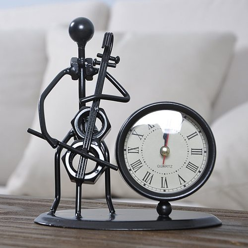 Vintage Metal Musical Clock Home Decoration Creative Iron People Model Desk and Table Clock Simple Time Recording Accessories