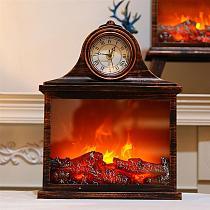 Household Fireplace Decor Fireplace Shape Lamp Decorative Clock Simulation Fireplace Lamp Antique Table Clock Home Decor