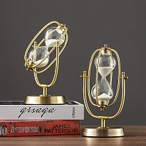 French Vintage Brass Hourglass 360° Rotating Metal Sand Clock Antique Sand Timer for Gifts Wedding Office Decor