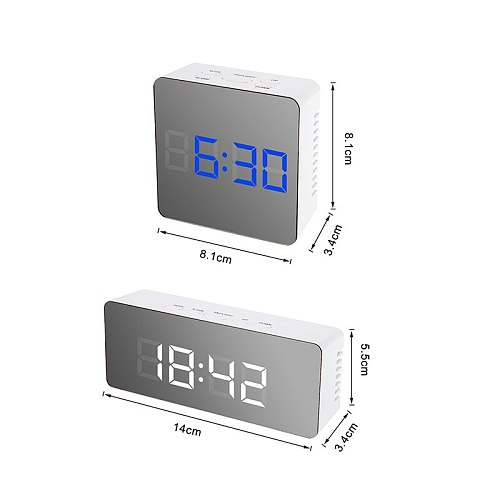 New LED Mirror Alarm Clock with Dimmer Snooze Temperature Function for Bedroom Office Travel Digital Home Decoration Clock