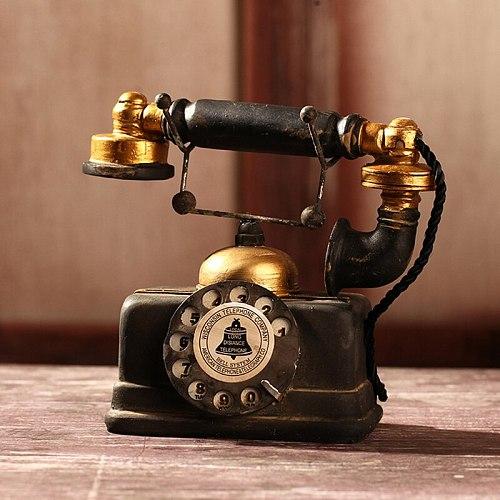 18/19th Rural Home Decoration Room Decor Craft Telephone Ornaments Retro Nostalgic Rotary Dial Phone