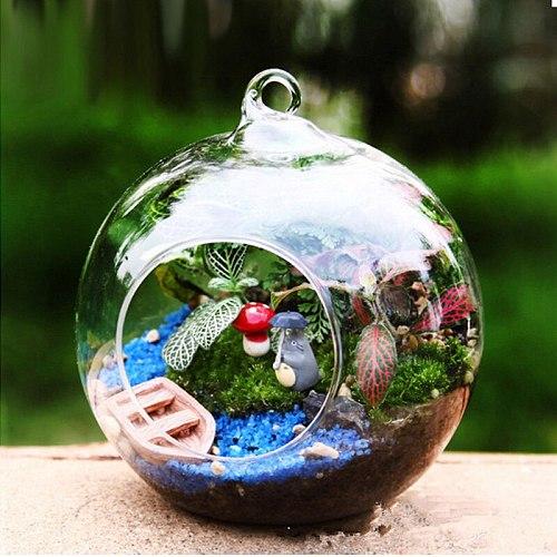 Terrarium Ball Globe Shape Clear Hanging Glass Vase Flower Plants Terrarium Landscape Container DIY Wedding Hangings Home Decor