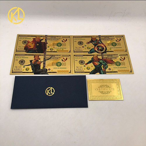 4pcs 1000000 US Dollars 24k Gold Color Banknote Donald Trump 2020 Christmas Gifts and Collection