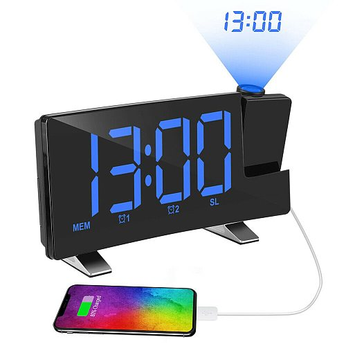 Magic LED Alarm Clock Ajustable Time Projector Dimmer Radio USB Charge Digital Snooze Tempreature&Humidiation Display with USB