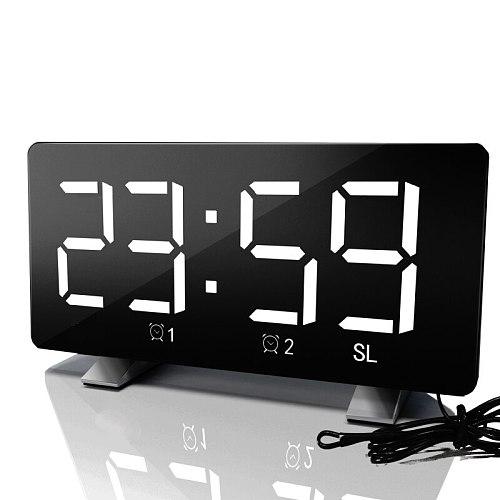 Digital LED Mirror Radio Alarm Clock Snooze Electronic Clock USB Charging Digital Desk Clock Watch Table Decor Clock Despertador