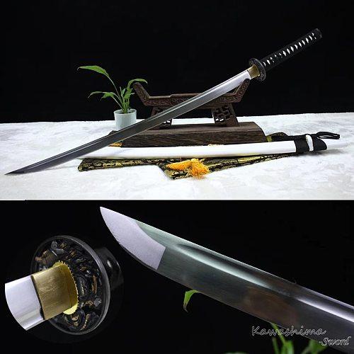 Hand Forged Japanese Iaito Katana Handmade Full Tang  Sword White Scabbard Unsharp Blade For Practice Light Weight