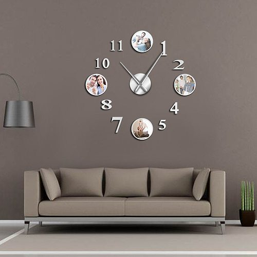 Photo Picture Frameless DIY Large Mute Wall Clock Custom Photo Decorative Living Room Family Clock Personalized Frame Images
