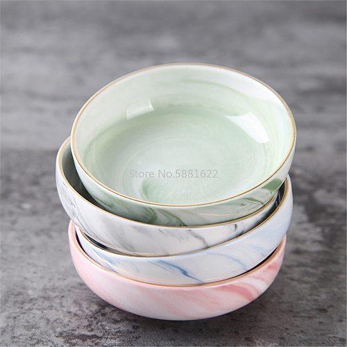 Luxury Ceramic Dish Marble Pattern Round Fruit Seasoning Soy Vinegar Ketchup Sauce bowl Pigments Plates Japanese Sushi Tableware