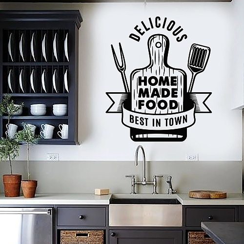 Wall Decal Cutting Board Home Made Food Delicious Kitchen Restaurant Interior Decoration Vinyl Window Stickers Words Mural M655