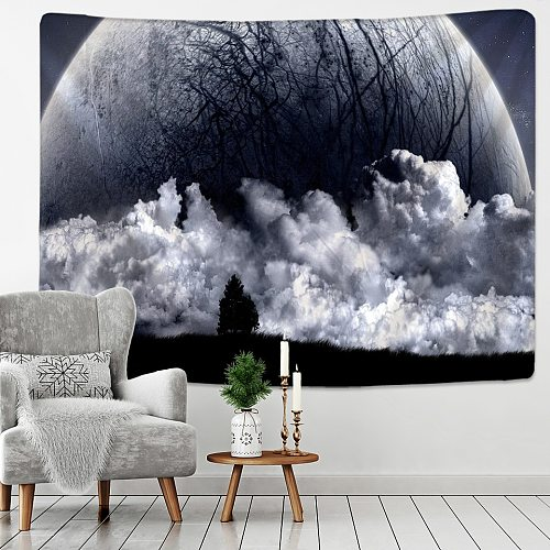 Black and White Moon Tapestry Starry Sky Printing Tapestry Wall Beach Blanket Picnic Yoga Mat Living Room Decor