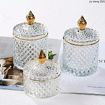 French Glass Phnom Penh Storage Jar Transparent Jewelry Cotton Swab Box Home Candy Tea Cans Aromatherapy Bottle Household Decor