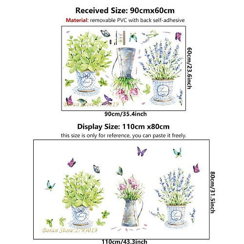 DIY Wallpaper Potted Flower Pot Butterfly Wall Stickers Home Decor for Kitchen Window Glass Bathroom Decals Waterproof