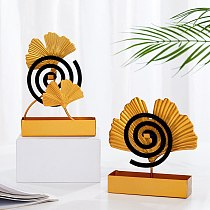 Ginkgo Leaf Shape Mosquito Coil Holder Fireproof Portable Hanging Mosquito Coil Shelf Wrought Iron Home Indoor Repellent Tools