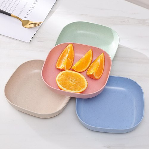 Children Lunch Food Plate Baby Feeding Bowl Wheat Straw Kids Snack Dinnerware Environmental Dishes New Training Tableware