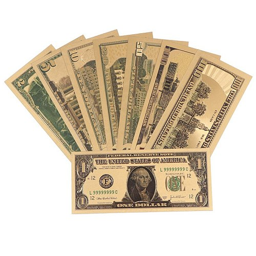 8pcs 24K Gold Plated Dollars Commemorative Notes Fake Money Gold Antique Collection 1 2 5 10 20 50 100 Dollar